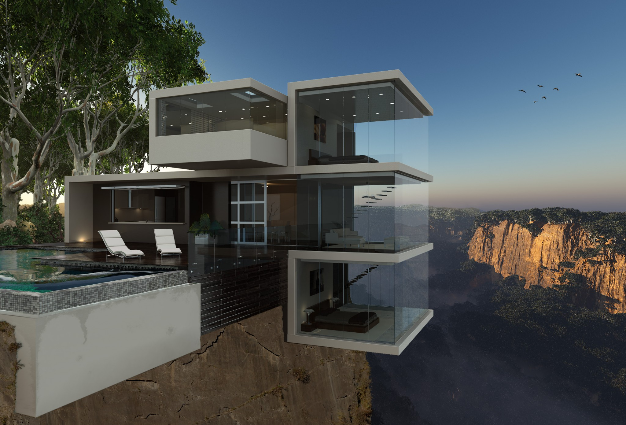 Berealized architectural visualisation for Cliff hanging homes